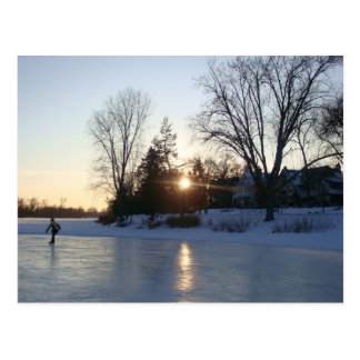 Frozen Lake Sunset Post Cards
