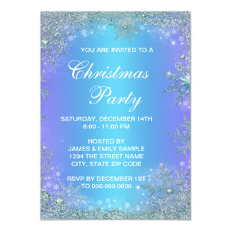 Frozen Lavender Purple Teal Snowflake Christmas Invitation