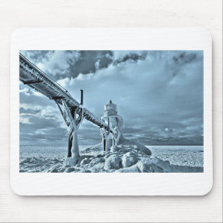 Frozen Lighthouse In Winter Mouse Pad