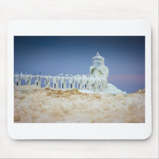 Frozen Lighthouse Mouse Pad