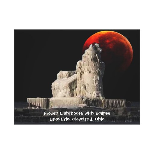 Frozen Lighthouse with eclipse Gallery Wrapped Canvas