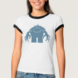 Ladies Ringer T-Shirt with Stylized Marshmallow Silhouette design