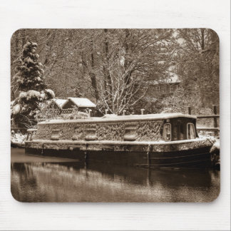 Frozen Narrowboat on Canal Mouse Pad
