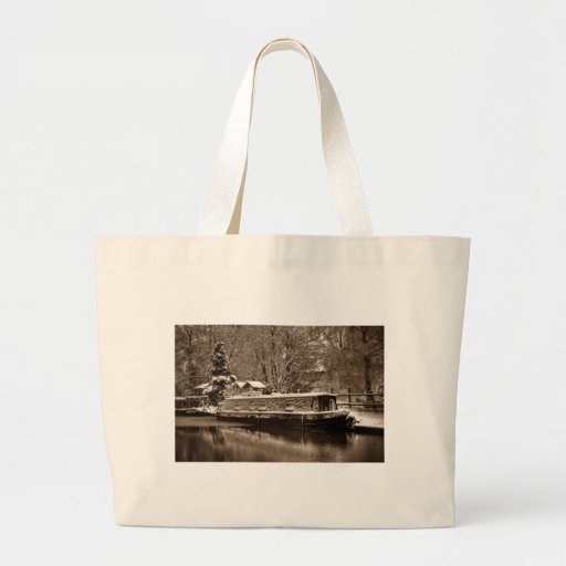 Frozen Narrowboat on Canal Tote Bags