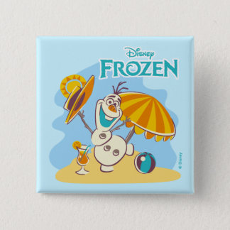 Frozen   Olaf Playing on the Beach Pinback Button