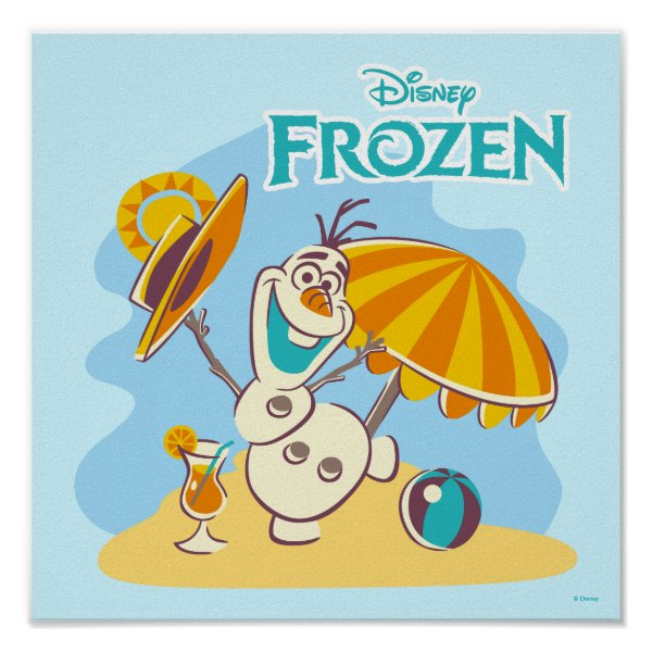 Frozen | Olaf Playing on the Beach Poster