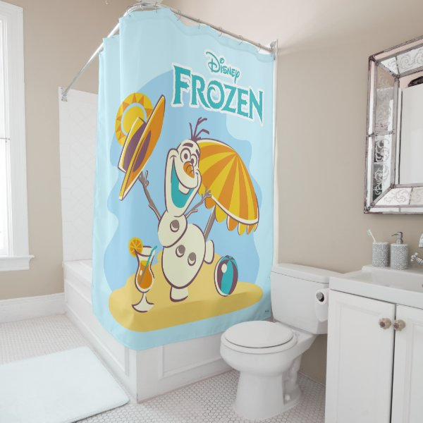 Frozen | Olaf Playing on the Beach Shower Curtain