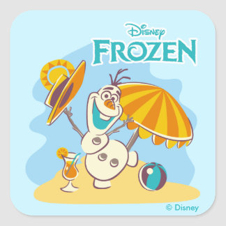 Frozen   Olaf Playing on the Beach Square Sticker