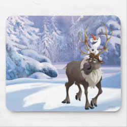 Mousepad with Frozen's Olaf the Snowman & Sven the Reindeer design