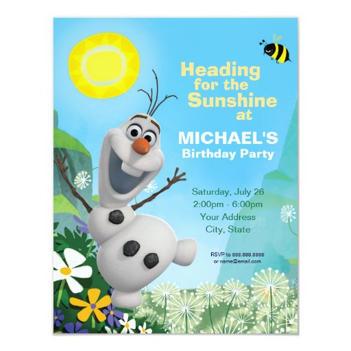 Frozen Olaf Summer Birthday Party Invitation