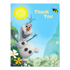Frozen Olaf | Wild For Summer Thank You Card at Zazzle