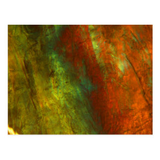 Frozen orange juice under the microscope postcard