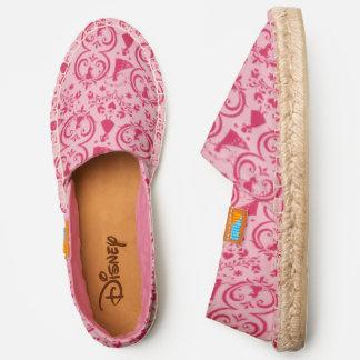 Frozen   Pink Floral Silhouette Pattern Espadrilles