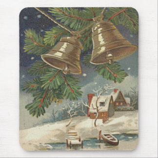 Frozen Pond Bell Evergreen Snow Mouse Pad