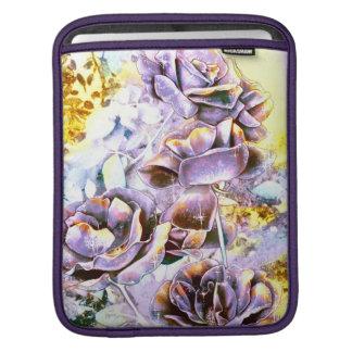 Frozen purple rose flowers in winter iPad sleeve