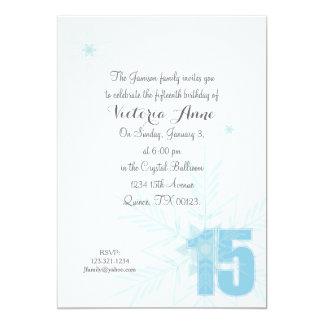 """FROZEN quinceanera WINTER SNOWFLAKE invitation 5"""" X 7"""" Invitation Card"""