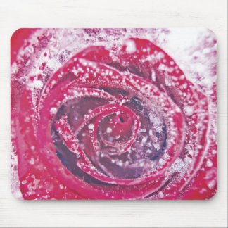 Frozen Red Rose Mouse Pad