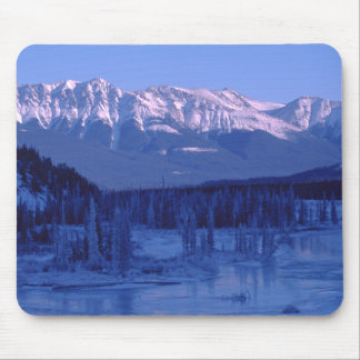 Frozen River Snowy Mountains Banff Alberta Mouse Pad