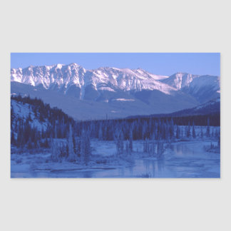 Frozen River Snowy Mountains Banff Alberta Rectangular Sticker