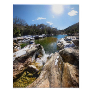 Frozen Sculpture Falls Barton Creek Austin Texas Poster