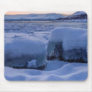Frozen Shore of Lake Tornetrask Mousepad