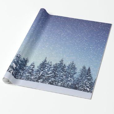 Merry_Holidays Frozen Snow Winter Forest Scene Wrapping Paper