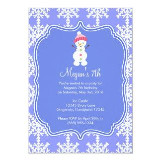 Frozen Snowflake Winter Snowman Birthday Card