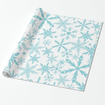 Christmas Themed Frozen Snowflakes Holiday Gift Wrap / Blue White