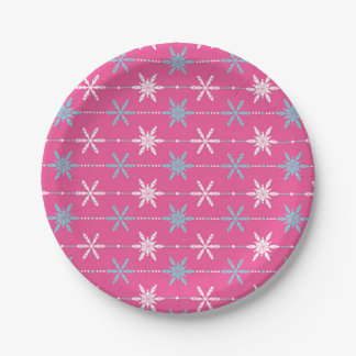 Frozen Snowflakes Pattern Holiday Paper Plates