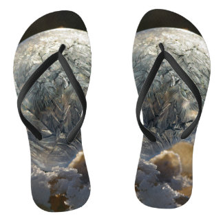 Frozen Soap Bubble Ice Crystals Winter Nature Flip Flops