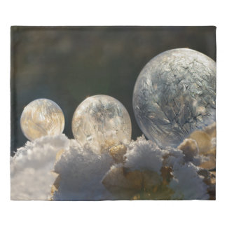 Frozen Soap Bubbles Ice Crystal Cool Winter Photo Duvet Cover