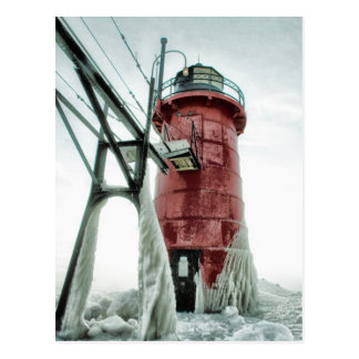 Frozen South Haven Lighthouse Postcard
