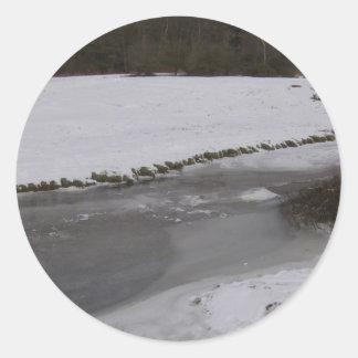 Frozen stream in New Forest Classic Round Sticker