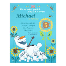 Frozen Summer Olaf Birthday Party Invitation at Zazzle
