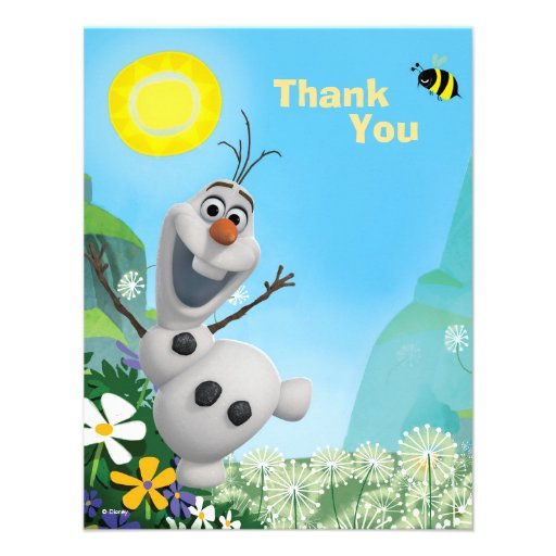 Frozen Summer Olaf Thank You 4.25x5.5 Paper Invitation ...