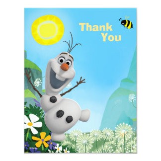 Frozen Summer Olaf Thank You 4.25x5.5 Paper Invitation Card