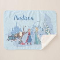 Frozen | Sven, Anna, Elsa & Olaf Blue | Name Sherpa Blanket