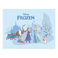 Frozen | Sven, Anna, Elsa & Olaf Blue Pastels Postcard