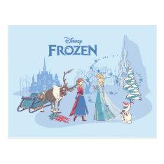 Frozen | Sven, Anna, Elsa & Olaf Blue Pastels Postcard at Zazzle