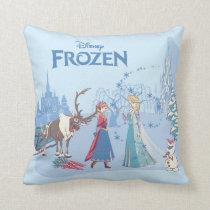 Frozen | Sven, Anna, Elsa & Olaf Blue Pastels Throw Pillow