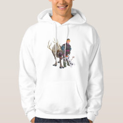 Men's Basic Hooded Sweatshirt with Frozen's Kristoff with Olaf the Snowman and Sven the Reindeer design