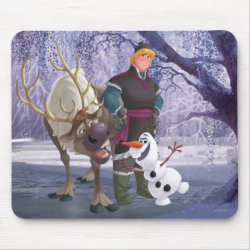 Mousepad with Frozen's Kristoff with Olaf the Snowman and Sven the Reindeer design