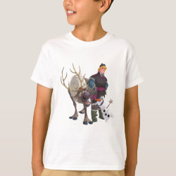 Frozen's Kristoff with Olaf the Snowman and Sven the Reindeer Kids' Hanes TAGLESS® T-Shirt