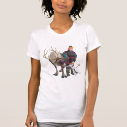 Women's American Apparel Fine Jersey Short Sleeve T-Shirt with Frozen's Kristoff with Olaf the Snowman and Sven the Reindeer design