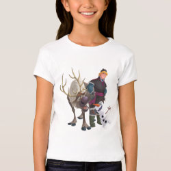 Girls' Bella+Canvas Fitted Babydoll T-Shirt with Frozen's Kristoff with Olaf the Snowman and Sven the Reindeer design