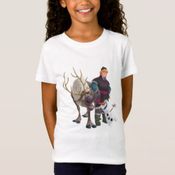 Girls' Fine Jersey T-Shirt with Frozen's Kristoff with Olaf the Snowman and Sven the Reindeer design
