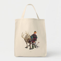 Grocery Tote with Frozen's Kristoff with Olaf the Snowman and Sven the Reindeer design