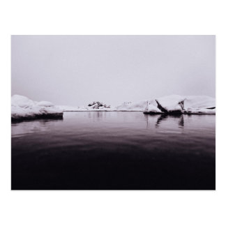 Frozen Themed, Black And White Arctic Frozen Lake Postcard