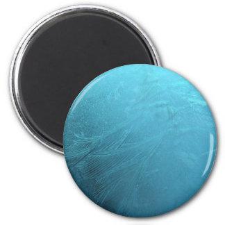 Frozen Water Ice Blue Frost Chic Winter Metallic Magnet