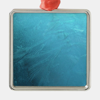 Frozen Water Ice Blue Frost Chic Winter Metallic Metal Ornament